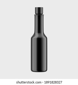 3D rendering, 3D illustration Bottle of spicy, black hot sauce isolated on white background