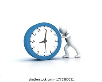 3D Rendering Illustration of Cartoon Business Person Pushing Clock