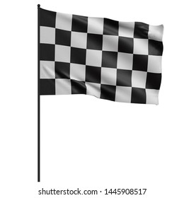 3D rendering illustration of a checkered racing flag