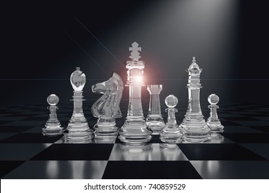3D Rendering : illustration of chess pieces.the glass king chess at the center with pawn chess in the back. chess board with light background. leader success concept. business leader concept
