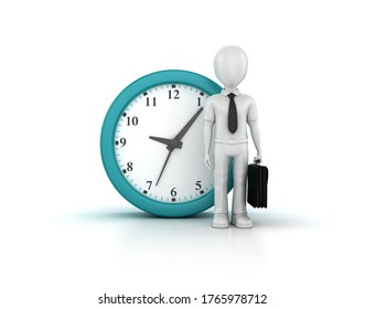 3D Rendering Illustration of Clock with Cartoon Business Character