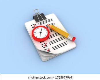 3D Rendering Illustration of Clock Checklist Clipboard