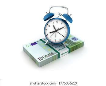 3D Rendering Illustration of Clock with Euro Bills