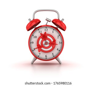3D Rendering Illustration of Clock with Target and Darts
