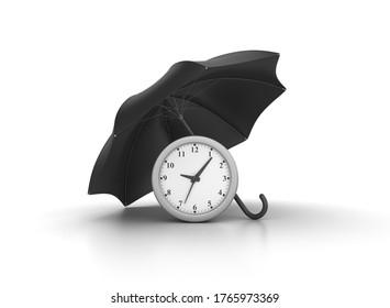 3D Rendering Illustration of Clock with Umbrella