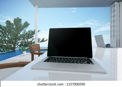 3D Rendering : illustration close up laptop worked table in seaview office. pc laptop notebook on marble table. soft light color. meeting room co-worker space. little tree decoration. clipping path