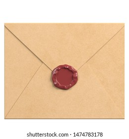 3D rendering illustration of a closed envelope with sealing wax