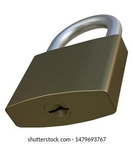 3D rendering illustration of a closed padlock