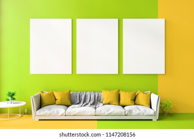 3D Rendering : illustration of colorful soft leather long sofa against color wall background. light shining from outside. cute living room interior design. summer fresh color tone. clipping path