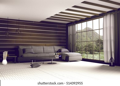 3d rendering : illustration of comfortable contemporary interior with view of green mountain and green field.white room interior in wooden style.with glass window and mountain view.