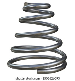 3D rendering illustration of a conical compression spring