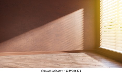 3d rendering illustration of corner of big empty room on sunny morning. Wide window with jalousie in front. South style interior with orange plaster walls, wooden parquet.