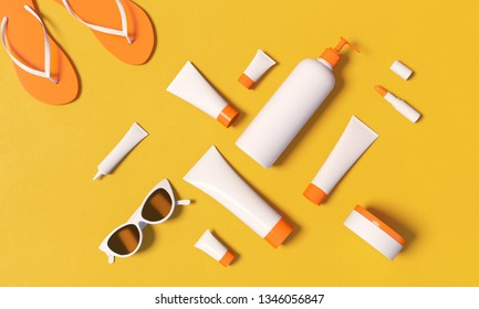 3d rendering illustration of cosmetic template for full sun protection. White plastic tubes, cat eye glasses and flipflops lay on vibrant orange backdrop. Contemporary branding identity concept.