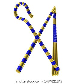3D rendering illustration of a crook and flail set