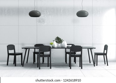 3D Rendering : illustration of dinner table set against loft cement wall in dining room. black wooden table and chair. little plant decoration on table. modern lamp hanging. minimalism dining room.