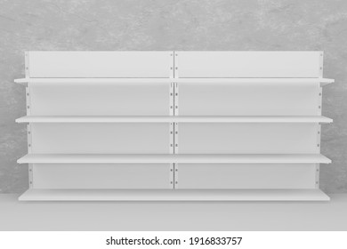 3d rendering illustration Empty Shelf of with space for product placement in white color minimal style