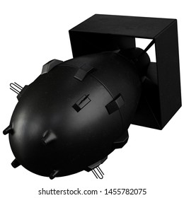 3D rendering illustration of Fat Man nuclear bomb