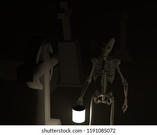 3d rendering of a 3d illustration featuring a goulish figure in a graveyard.