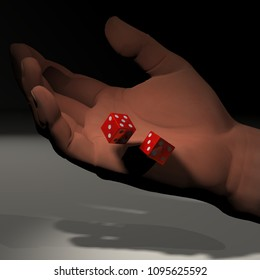 3d rendering of a 3d illustration featuring a hand tossing dice