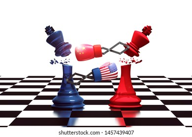 3D Rendering : illustration of fight of trade war USA and China. king chess with boxing glove fight for winner business concept. trade war of united state of America with china. Business leaders