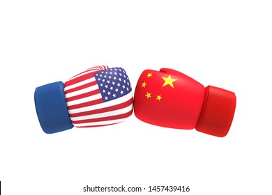 3D Rendering : illustration of fight of trade war USA and China. Boxing glove fight for winner business concept. trade war of united state of america with china. Business leaders