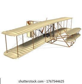 3D rendering illustration of the fist airplane (Flyer I) built and tested at Kitty Hawk's Kill Devil hill in North Carolina (United States) by Orville and Wilbur Wright on December 17 of 1903.