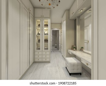 3d rendering, 3d illustration - Fitting Room Design with Classic Showcase Display in white colors. Also have dressing area for makeup.