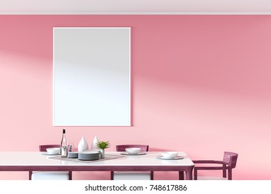 3D Rendering : illustration of a frame hanging at pink pastel wall over dining table in dining room. ceramic dish decoration on wood and marble table. soft light color. clipping path included.