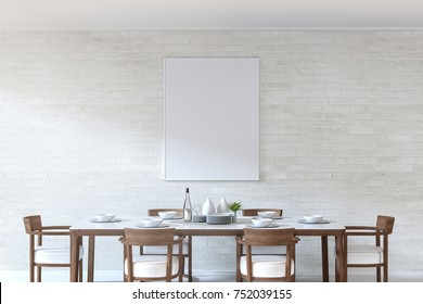 3D Rendering : illustration of a frame hanging at white brick wall over dining table in dining room. ceramic dish decoration on wood and marble table. soft light color. clipping path included.
