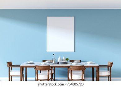 3D Rendering : illustration of a frame hanging at pastel color wall over dining table in dining room ceramic dish decoration on wood and marble table. soft light color. clipping path included.