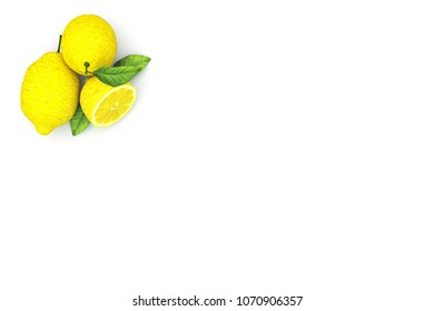 3D Rendering : illustration of fresh yellow lemon on black studio light background. group of lemon put on black flay lay table fresh fruit concept. high resolution fruit background. sour flavour