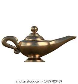 3D rendering illustration of a genie lamp