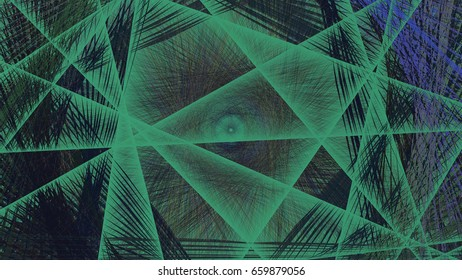3D rendering illustration of a geometric net structure show a large grid of green lines