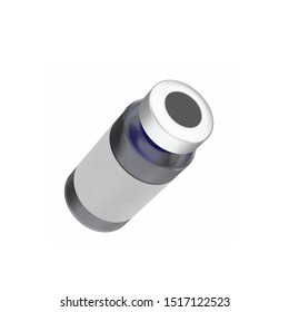 3D rendering illustration of a glass ampoule with aluminium cap