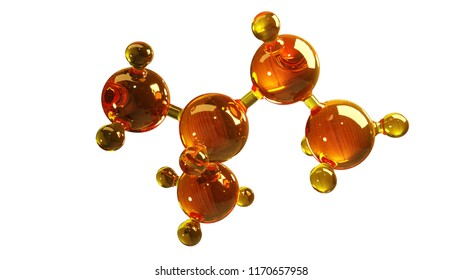 3d rendering illustration of glass molecule model. Molecule of oil. Concept of structure model motor oil or gas isolated on white.