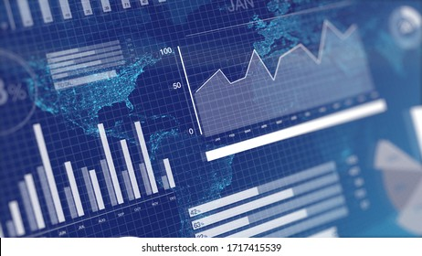 3D rendering illustration of graphs and charts over globe map background. Blue corporate abstract