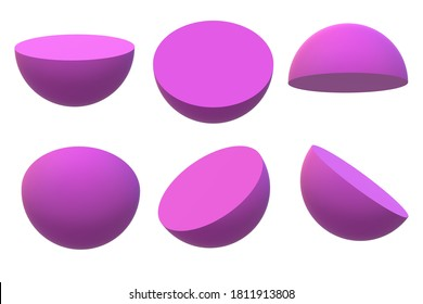 3d rendering illustration half sphere shapes with different angles