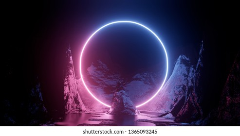 3d rendering illustration. Hoop or circle, Purple and red neon lights on the background of rocks and mountains. Neon frame for your design