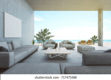 3d rendering : illustration of interior living room and swimming pool in house or resort. Beach living with Sea view. cement loft  modern interior furnish decoration. soft light color picture style