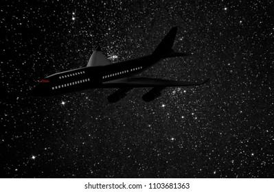 3d rendering illustration of a jet airliner flying at night