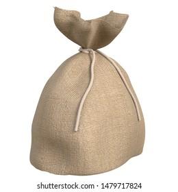 3D rendering illustration of a jute sack