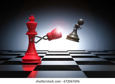 3D rendering : illustration of king chess knocking out a pawn chess. King punching and destroying the pawn with red boxing glove on chess board. Secret weapon business concept.