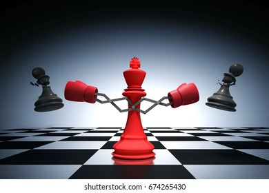 3D rendering : illustration of king chess knocking out a pawn chess. King punching and destroying the pawn with red boxing glove on chess board. knock to win with weapon business concept.