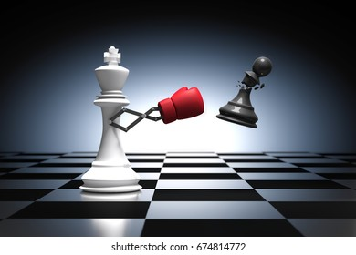 3D rendering : illustration of king chess knocking out a pawn. King chess punching and destroying the pawn chess piece with red boxing glove on chess board. Secret weapon business concept.