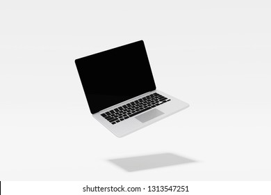 3D Rendering : Illustration of laptop notebook mock up with white background. float or levitate laptop. technology gadget for hipster background concept. high resolution