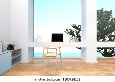 3D Rendering : illustration of laptop worked table in seaview office. pc laptop notebook near big window. soft light color. meeting room co-worker space. little tree decoration. chill out concept.