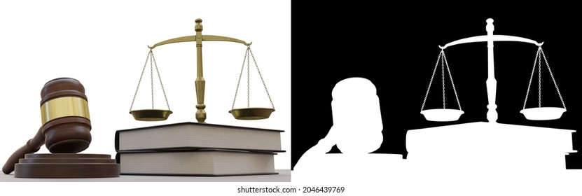 3D rendering illustration of a law hammer, books and justice balance, with alpha mask