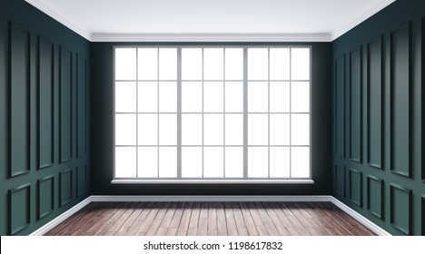 3d rendering illustration of luxury emerald color interior with window and hardwood floor. Classical living room with molding, wall paneling. Day sun side light. Isolated on white backdrop, cut out.
