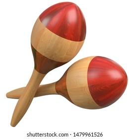 3D rendering illustration of a maracas rumba shakers