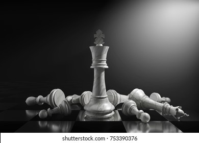 3D Rendering : illustration of marble chess pieces. marble king chess at center with fall other chess piece in the back. chess board with dark light background. leader success business concept.